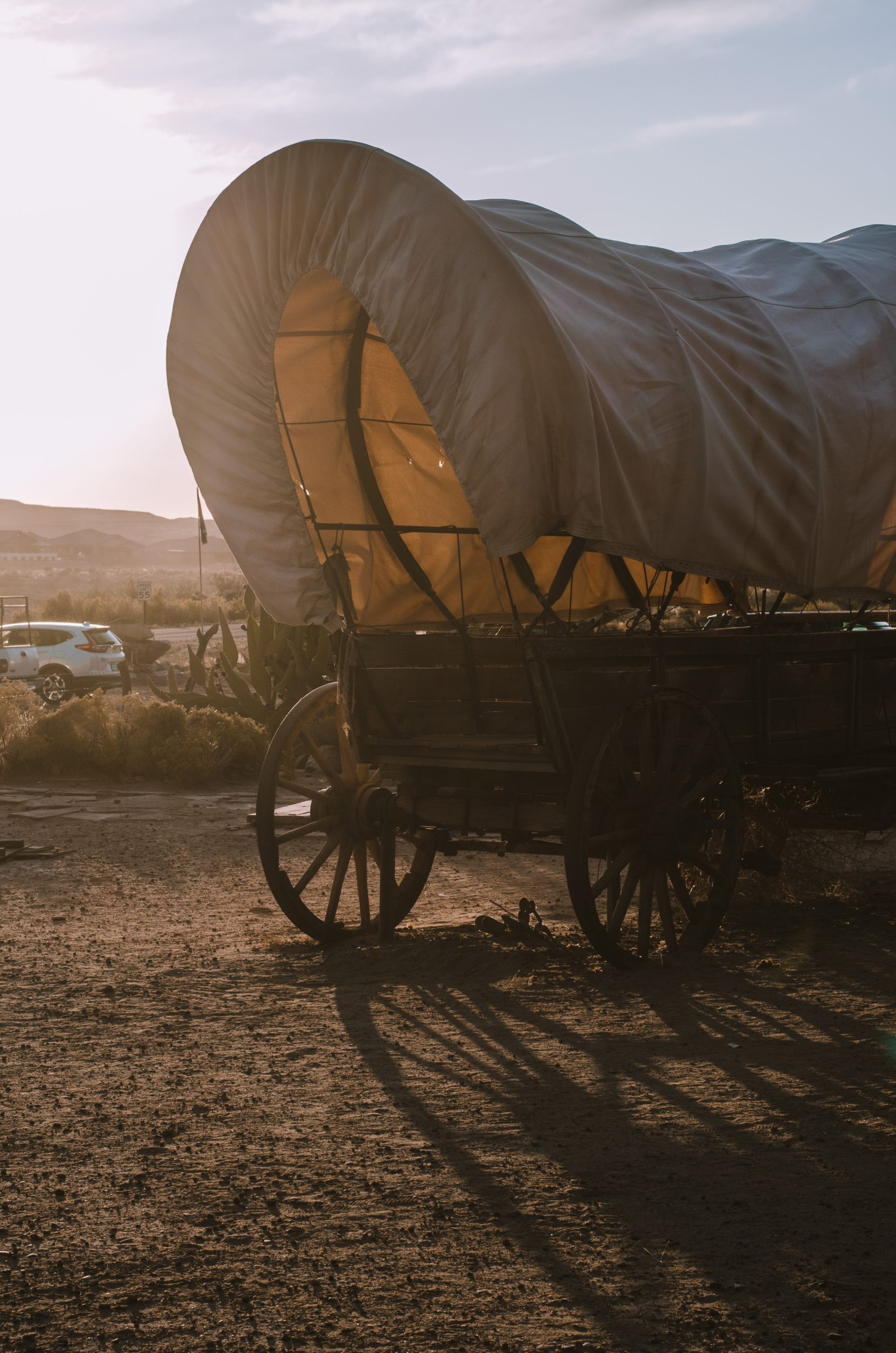 Sunlight streaming through a chuck-wagon