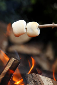 2 marshmallows on wooden stick roasting over