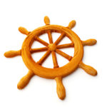 brown wooden ship's wheel with eight spokes on white background