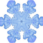 graphic drawing of blue snowflake with six radiating arms from central circle